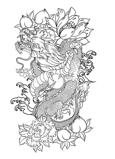 Japanese Old Dragon Tattoo For Arm.Hand Drawn Dragon With Peony Flower,lotus,rose And