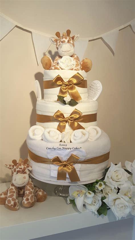 tier unisex giraffe nappy cake baby gift