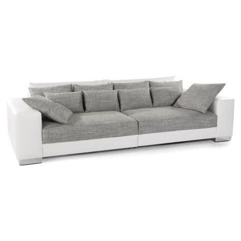 canapé convertible droit grand canap 233 droit quartz blanc gris 4 places achat