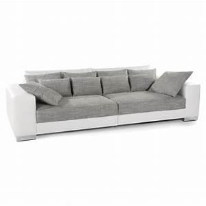 grand canape droit 39quartz39 blanc gris 4 places achat With canapé droit tissu 4 places