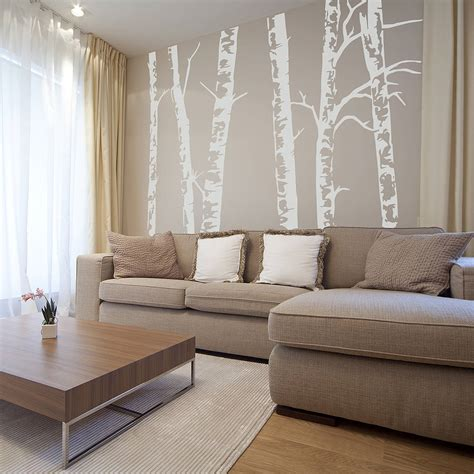 Black And Red Living Room Decorations by Silver Birch Trees Vinyl Wall Sticker By Oakdene Designs
