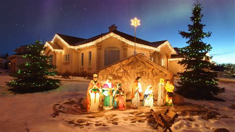 Outdoor Christmas Nativity Scene-merry Christmas Desktop