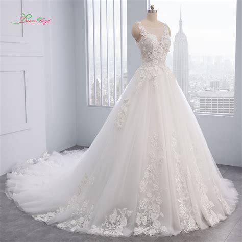 Dream Angel Elegant Flowers Lace Princess Wedding Dress