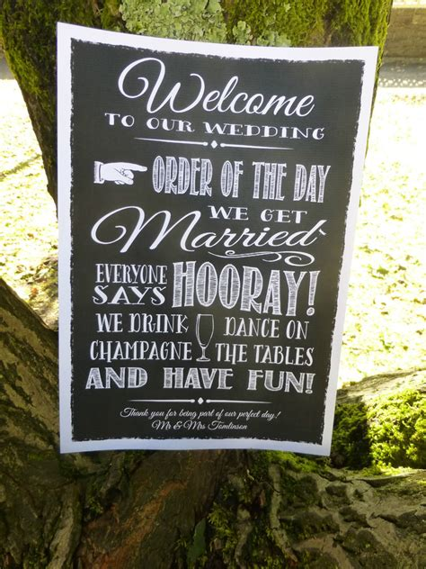 Vintage Chalk Style Fun Welcome Order Of The Day Wedding