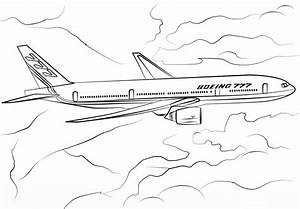 Boeing 777 Airplane Coloring Page - Transportation ...