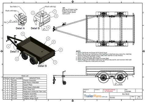 Boat Trailer Plans Australia by Tandem Box Trailer Plan Trailer Plans Designs And Drawings
