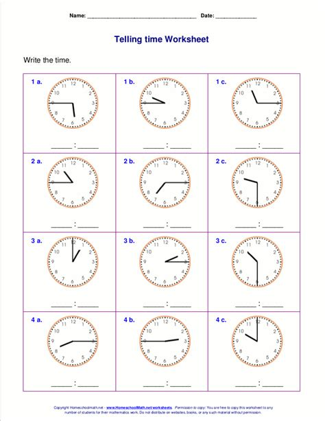 telling time worksheets   grade