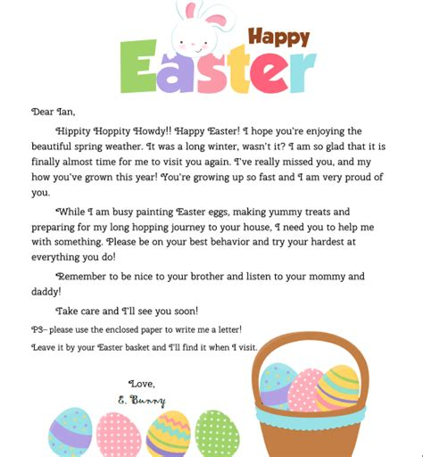 Letter To Easter Bunny Template by Personalized Letter From The Easter Bunny For Your Child