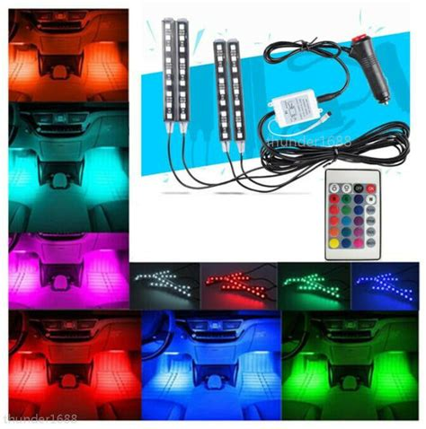full color led glow lights interior  dash footwell
