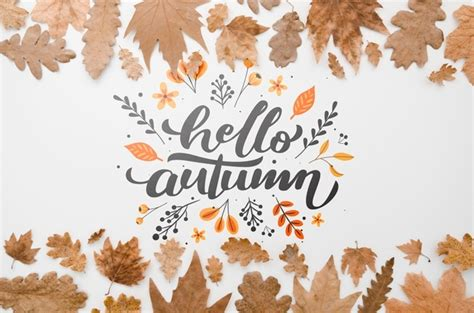 Artsy Fall Laptop Backgrounds by Flat Lay Hello Autumn Surrounded By Leaves Psd File Free