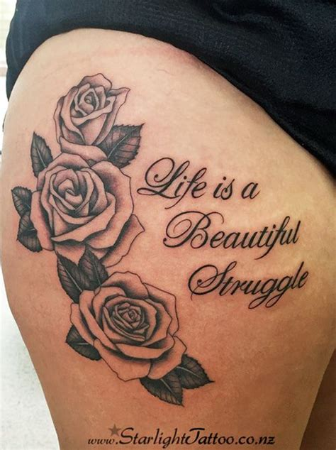 traditional black outlined roses tattoo  writing life