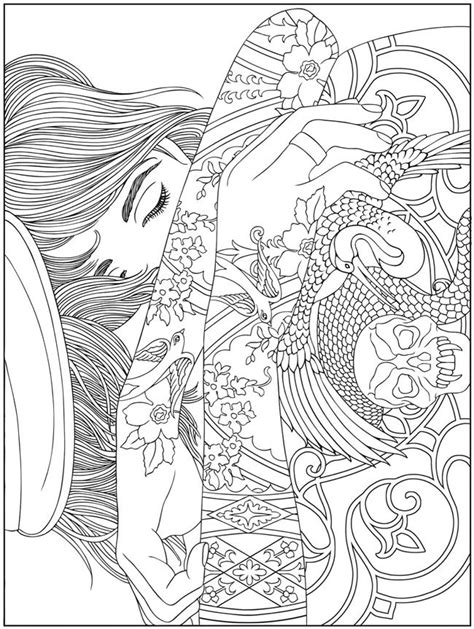 BODY ART TATTOO colouring pages FREE samples @ Dover