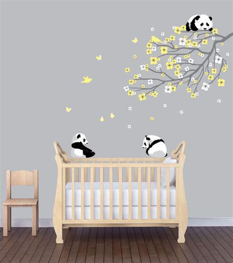 flower branch panda nursery sticker animal wall