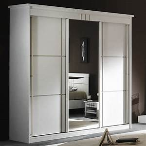 Porte Coulissante Miroir : armoire 3 portes miroir coulissantes mareva blanc ~ Carolinahurricanesstore.com Idées de Décoration
