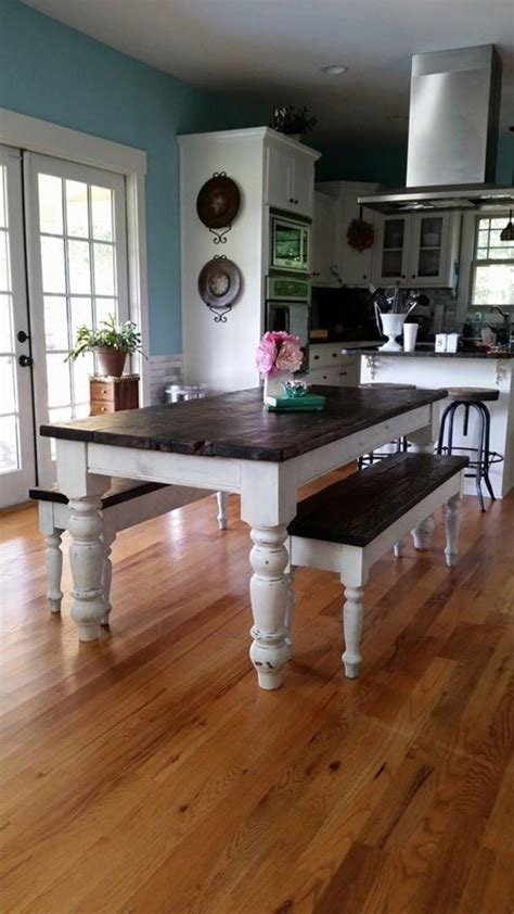 8 ft farmhouse table 8 foot farmhouse table w 2 benches by wellsworksfurniture