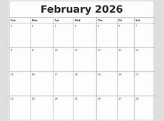 February 2026 Blank Schedule Template