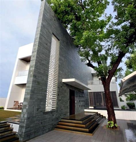 modern house  natural stone walls  chic decor