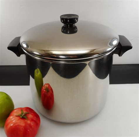 revere ware tall  quart stock pot lid tri ply disc stainless  olde kitchen