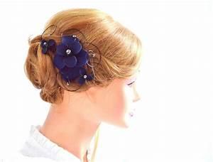 Bridal Hair Comb Floral Headpiece In Navy Bridesmaid