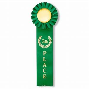 "2 x 10 Inch Green Satin ""5th Place"" Rosette Ribbon ..."