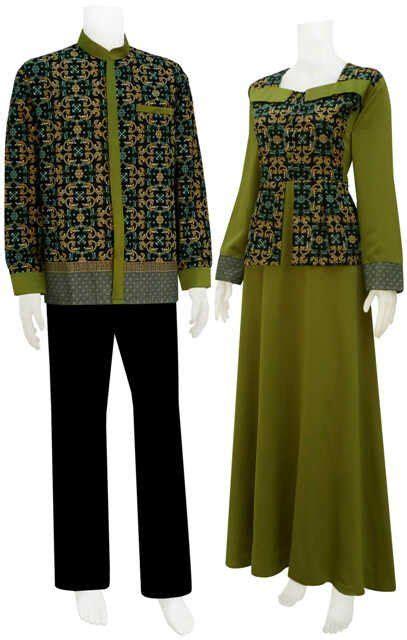 gambar model baju batik gamis kombinasi terbaru batik