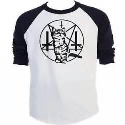 satanic cat shirt purrrrr evil satanic cat kitten baphomet baseball shirt t