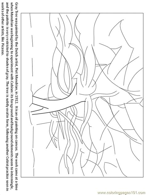 mondrian gray tree coloring page  structures