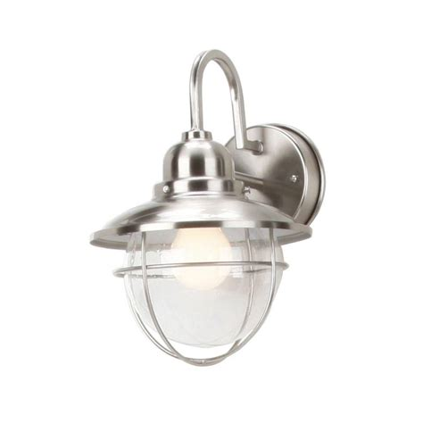 hton bay 1 light brushed nickel outdoor cottage lantern