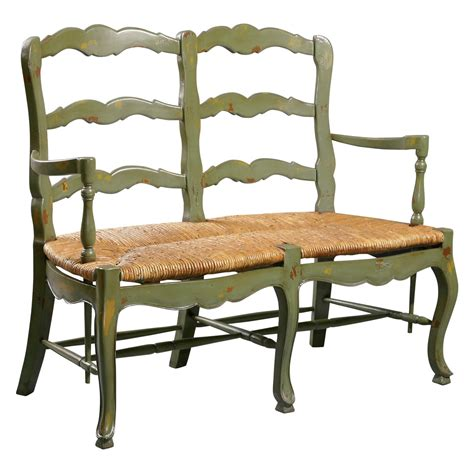 Bench Settee Furniture by Country Ladderback Settee Bench At Hayneedle
