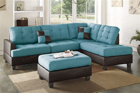 Blue Leather Sectional Sofa And Ottoman