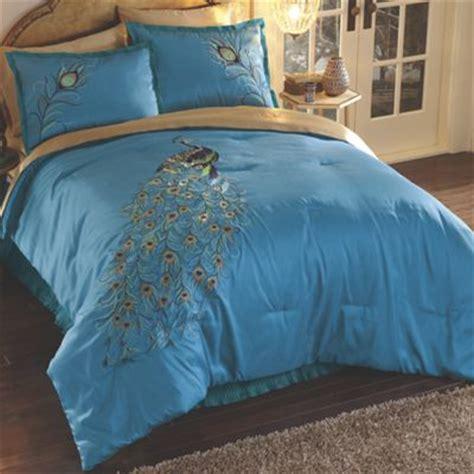 embroidered peacock comforter set  midnight velvet