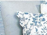 toile bedding shams and blue on