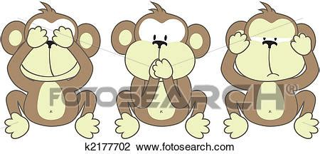 clipart of three monkeys saying k2177702 search clip illustration murals drawings and