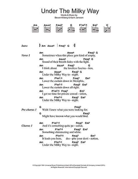 under the milky way sheet music by the church lyrics