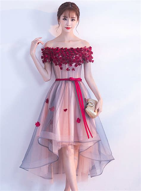 In Stock:Ship in 48 hours Pink Off The Shoulder Tulle Hi ...