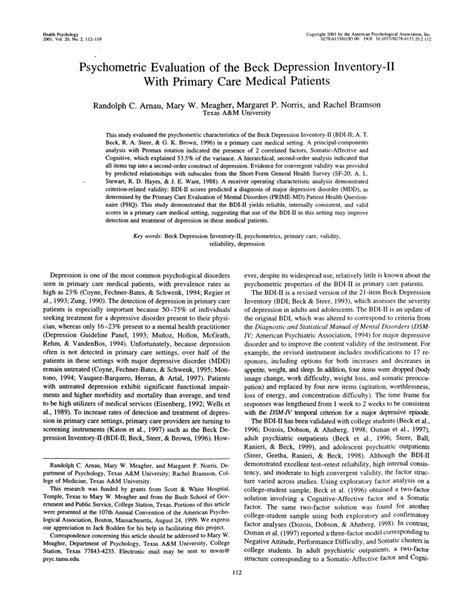 beck depression inventory ii pdf pdf psychometric evaluation of the beck depression