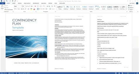 contingency plan templates ms word excel technical