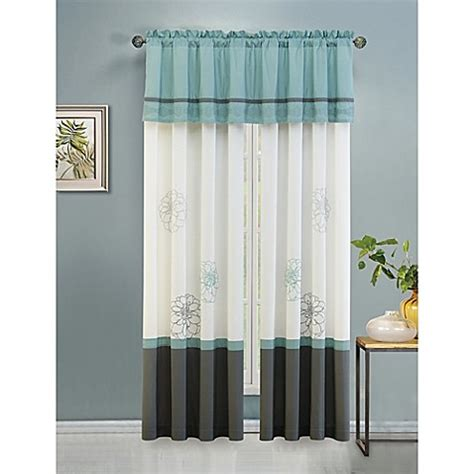Blue Gray Valance by Terra Floral Valance In Blue Grey Bed Bath Beyond