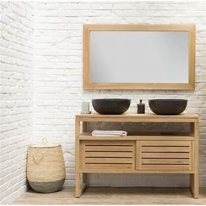 Salle De Bain En Bois : meuble double vasque bois achat vente meuble double vasque bois pas cher cdiscount ~ Teatrodelosmanantiales.com Idées de Décoration