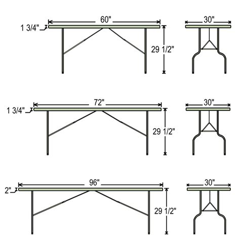 folding table dimensions banquet table events