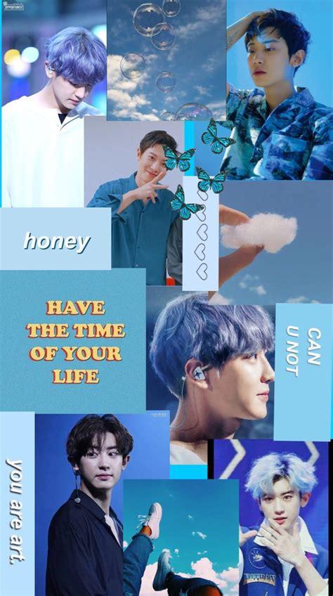 chanyeol aesthetic wallpaper biru gambar pacar pria