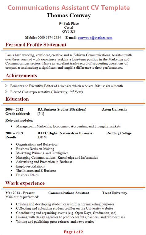 Histology Resume Format by How To Write A Cv Student