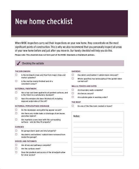 New Home Inspection Checklist Template house inspection checklist 12 free pdf word