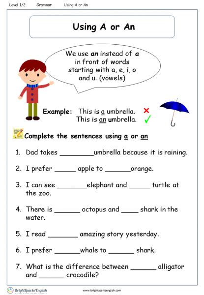 Using A Or An Worksheet  English Treasure Trove