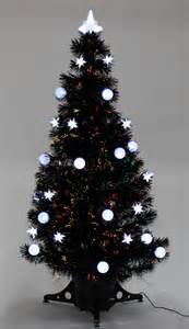 christmas tree 4ft 5ft 6ft black fibre optic star and bauble decorated trees new ebay