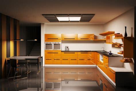 cuisine orange et noir cuisine couleur orange pour un décor moderne et énergisant