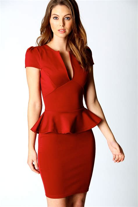 Red Peplum Dress Picture Collection