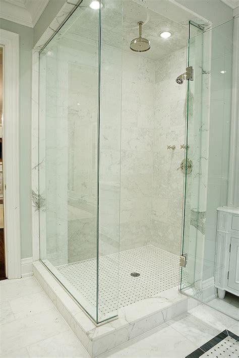 white marble shower surround contemporary bathroom