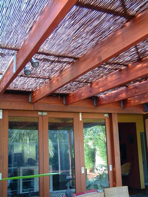 add bamboo shade cover to pergola outdoor ideas