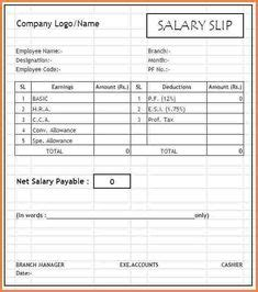 printable template  salary slip  company